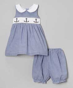 Look at this Jayne Copeland Navy Gingham Anchor Smocked Dress & Bloomers - Infant on #zulily today!