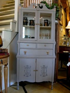 Pretty vintage cupboard painted in Chalk Paint® decorative paint by Annie Sloan:  French Linen