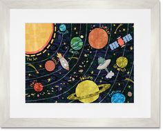 Oopsy Daisy Fine Art For Kids Super Solar System by Alice Feagan Framed Art Solar System For Kids, Solar System Art, Canvas Frame, Canvas Fabric, Canvas Wall Art, Sistema Solar, Art Wall Kids, Art For Kids, Outer Space Decorations