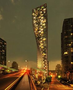 """""""The Beach and Howe tower is a contemporary descendant of the Flatiron Building in New York City – reclaiming the lost spaces for living as the tower escapes the noise and traffic at its base,"""""""