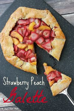 Strawberry Peach Galette Recipe. Easier than pie and tastier too! Uses no lard in the crust either. Great Summer dessert idea for all of that fresh fruit! You can use any kind of fruit!
