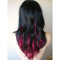 20 ideas for red ombre hair. List of red ombre hair colors. Red ombre hair color ideas for a bold new look. Pink And Black Hair, Black Hair Ombre, Hair Color Pink, Cool Hair Color, Black Ruby, Black Hair Pink Highlights, Hair Colors, Black Hair With Color, Pink Peekaboo Hair