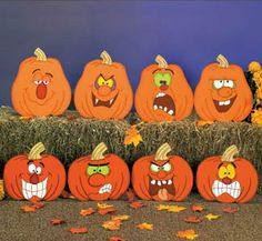 Halloween Double Sided Pumpkin, Jack O Lantern, Wood Outdoor Yard Art, Halloween…