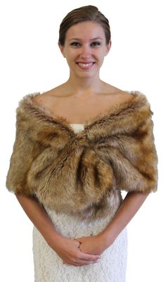 Vintage Brown faux fur wrap bridal stole 800M-VBRN by TionDesign
