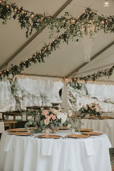 Natural + Ethereal Wedding Inspiration / White Wedding Tent with Bistro Lights and Greenery / Heather & Chris Wedding / Blush + Navy + Sage Green Wedding Palette / wedding decorations Our Wedding Day Details & Vendors (+ lots of photos! Our Wedding Day, Wedding Table, Perfect Wedding, Dream Wedding, Wedding Scene, Wedding Church, Wedding Bride, Decor Wedding, Wedding Centerpieces