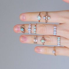Antique Opal Ring. 14K Gold. Four Stone Row. Size 8 by TheDeeps