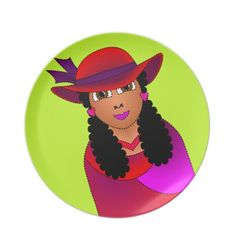 Red Hat Woman on Green Party Plate