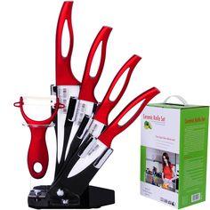 Professional Knife Set, Super Sharp Kitchen Knives, 6 Piece Red Ceramic Knives Cutlery Set, 6' Chef Knife, 5' Utility Knife, 4' Fruit Knife, 3' Paring Knife, Ceramic Peeler & Knife Block by Zirconia