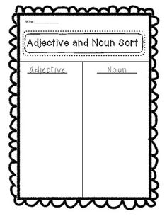 ADJECTIVES ACTIVITIES PACKET FOR FREE - TeachersPayTeachers.com I see having a ton of nouns and adjectives on the board and then guiding them to sort.  The next day the students could use the adjectives with the nouns, either in a serious sentence writing way or to make some seriously goofy combinations!