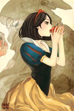 apple brown_eyes brown_hair disney dress earrings food fruit grimm's_fairy_tales hairband holding jewelry nox short_hair snow_white_(grimm)