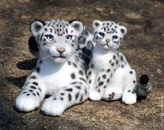 Купить Снежный барс с детенышем (валяные игрушки) - игрушка валяная, игрушки валяные, Валяные игрушки