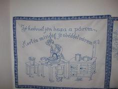 Falvedo: Jo kedvvel jon haza a parom, Mert mindig jo ebeddel varom! Reusable Tote Bags, Embroidery, History, Frame, Vintage, Hungary, Home Decor, Craft Ideas, Google