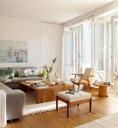Living room, home decor Home Interior, Home Living Room, Interior Design Living Room, Living Room Decor, Living Pequeños, Living Spaces, Small Living, Living Room Inspiration, Home Furniture