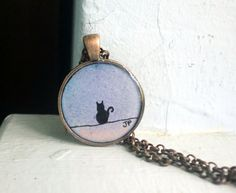 Jewelry Necklace Original Watercolor Cat Silhouette by LaRueStudio