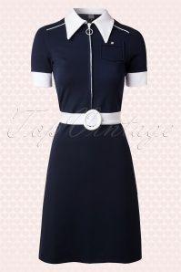Mademoiselle Yeye 60s Jersey Nav and White Dress 107 31 14499 20150214 0007W