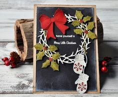 Chalkboard style with wreath, glows and greneery