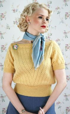 Retro Vintage Ravelry: The Jan Sweater pattern by Susan Crawford - Jan is great for a knitter with basic skills. It is an excellent first sweater knit and also first lace knit. Vintage Knitting, Lace Knitting, Vintage Crochet, Knit Crochet, Girls Sweaters, Vintage Sweaters, Vintage Patterns, Knitting Patterns, Retro Fashion