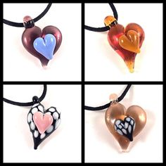 Double heart pendants fresh from the kiln. Available at www.AvenueBeads.com #lampwork #jewelry