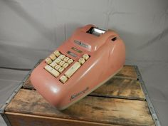 Vintage Pink Adding Machine Burroughs Ten Key Working Electric Calculator by WesternKyRustic on Etsy