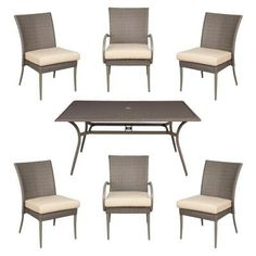 What a great way to design your patio or outdoor space with this bare Posada 7 piece woven dining set. Pick from a number of cushion colors that compliment your style. Comes with four side dining chairs, two arm dining chairs, and one 62 in. x 38 in. rectangular table. Packed in two boxes. • Powder coated steel frame • Coordinates with other items in the Posada collection • Powder coated dark colored steel frame under weave • Clean with mild soap and water