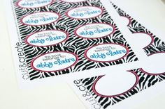 Free Printable - Pink and zebra print label or card