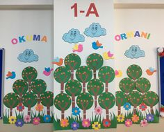 A forest for the first letters of my little students... Our trees started giving apples!...
