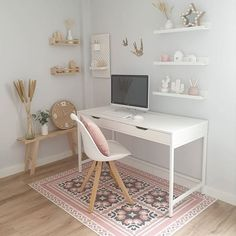 Every Monday around here we start with a home office inspiration. office ideas for two Bedroom Decor For Teen Girls, Room Ideas Bedroom, Teen Room Decor, Small Room Bedroom, Teen Rooms Girls, Small Bedroom Decor On A Budget, White Desk Bedroom, Ikea Girls Bedroom, Teen Girl Desk