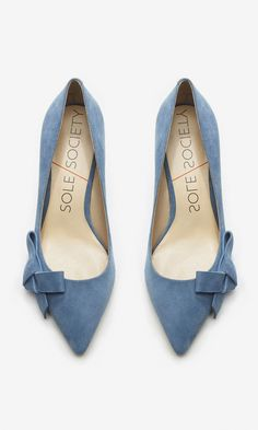 Lush chambray suede mid heels