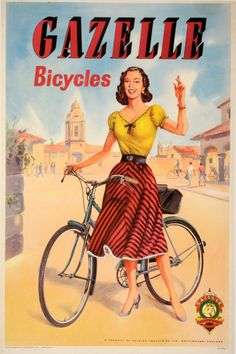 """historyinposters: """"English advertising poster for Gazelle bicycles (1950s) """""""