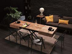 table gain de place bois brut et métal avec plateau extensible à hauteur réglable