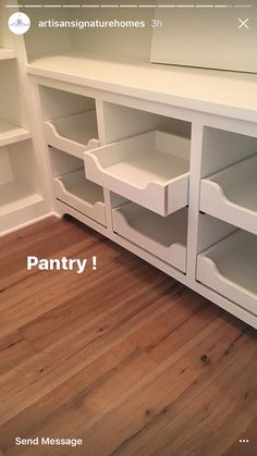 Pantry pull out drawers by Charlane Slaughter Pantry pull o. - Pantry pull out drawers by Charlane Slaughter Pantry pull out drawers by Charl - Kitchen Pantry Design, New Kitchen, Kitchen Storage, Kitchen Decor, Food Storage, Kitchen Pantries, Storage Drawers, Kitchen Ideas, Pantry Shelving