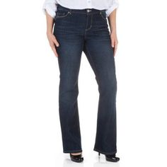 Faded Glory Women's Rockin' Curvy Bootcut Jeans with Flap Back Pocket available in Regular and Petite, Size: 8P, Gray