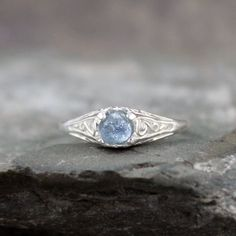 Light Sky Blue Montana Sapphire Ring  Sterling by ASecondTime, $195.00