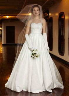 LOVE this dress! And I love gloves! And this dress is inexpensive and 2-in-1 (the ball gown skirt is removed for a shorter evening dress)  http://www.davidsbridal.com/Product_Two-In-One-Beaded-Taffeta-Gown-YP3266