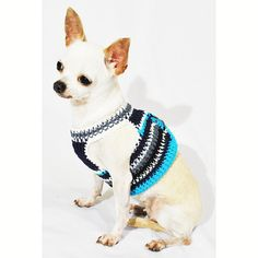 Velcro Dog Harness Casual Blue Turquoise Handmade by myknitt