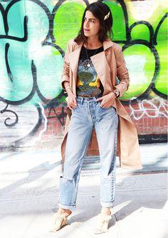 On Leandra Medine of The Man Repeller: Tibi trench coat; Proenza Schouler t-shirt; vintage Levi jeans; Chloe mules