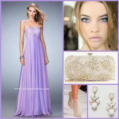 La Femme 22363 long prom dress - purple prom dress - homecoming dress - formal dress - bridesmaids dress - pageant dress - chiffon gown - soft scoop neckline - strapless - empire waistline - crystal embellished bodice - pearl embellished bodice - style inspiration - makeup inspiration - pearl accessories - sparkly accessories - glamour