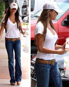 casual jean, white tee and hat.
