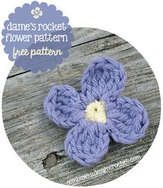 Dame's Rocket Flower - Damask Violet crochet pattern by Oombawka Design Double Crochet Beanie Pattern, Easy Crochet Hat, Crochet Puff Flower, Crochet Flower Patterns, Flower Applique, Half Double Crochet, Crochet Flowers, Free Crochet, Crochet Ideas