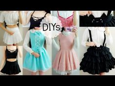 5 Cute DIY Clothes: Cat Suspender Skirt,ladylike/DollLike Dress,Off Shoulder Blouse,Lace up Top - YouTube