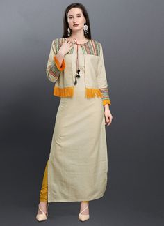 Beige Cotton Readymade Kurti With Jacket 181994 Stylish Dress Designs, Dress Neck Designs, Designs For Dresses, Stylish Dresses, Casual Dresses, Kurti With Jacket, Jacket Dress, Fancy Kurti, Pakistani Formal Dresses