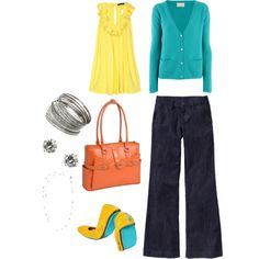 Yellow & Turquoise - Ooh, me likey! Turquoise Cardigan, Yellow Turquoise, Orange Yellow, Fashion Sets, I Love Fashion, Daily Fashion, Fashion Looks, Today's Outfit, Outfit Ideas
