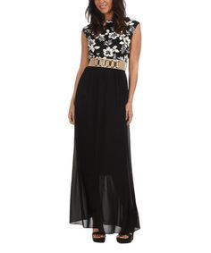 Loving this Black & White Floral Bodice Belted Maxi Dress on #zulily! #zulilyfinds