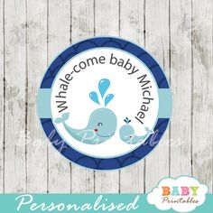 Printable blue whale baby shower navy blue scallop pattern favor tags personalized for your baby boy celebration. Perfect for Favor Tags, Gift Bag Tags, Cupcake Toppers, Stickers and more. #babyprintables