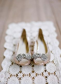 Dusky pink peep toe crystal wedding shoes -- for the girls who prefer flats on their big day!