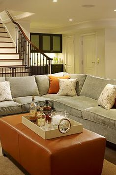 Suzie: Artistic Designs for Living - Cozy, chic blue gray tobacco basement living space design! ...