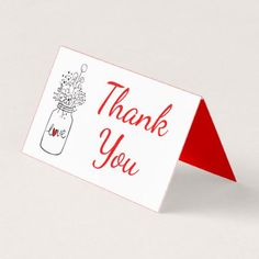 Rustic Wedding Red Thank You Mason Jar Flower Love Place Card - thank you gifts ideas diy thankyou
