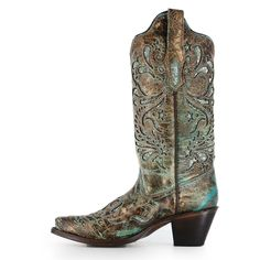 Corral Women's Turquoise Glitter Inlay Western Boots