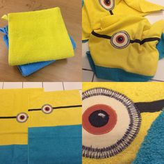 2 Towels from IKEA, dkr.20,- ; cut and sew= minions Ready for footballtraining.....