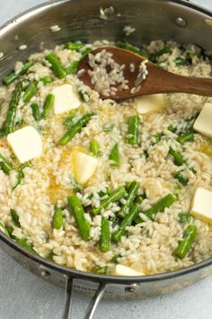 Creamy, cheesy homemade risotto is taken up a notch with the addition of crispy asparagus Asparagus Risotto Recipe, Risotto Recipes, Arborio Rice, How To Cook Asparagus, Vegetable Recipes, Pasta, Homemade, Vegetables, Cooking
